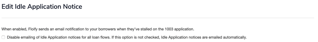 idle application notification settings