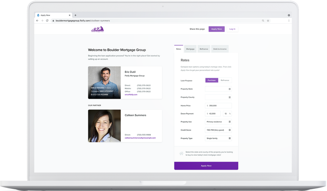 floify landing page co-branded for a loan officer and a realtor working in partnership