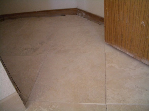 Inconsistent grout lines, lippage