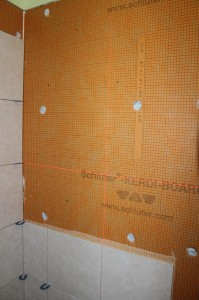 laser level where the grout lines will be