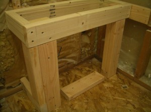 Rectangular frame for shower bench