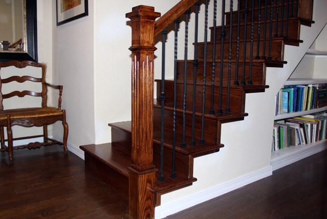White Oak Stair Treads And Risers ‹ Esl Hardwood Floors Portfolio | White Oak Stair Risers | Spindles | Paint | Stair Railing | Stairs Treads | Carpet
