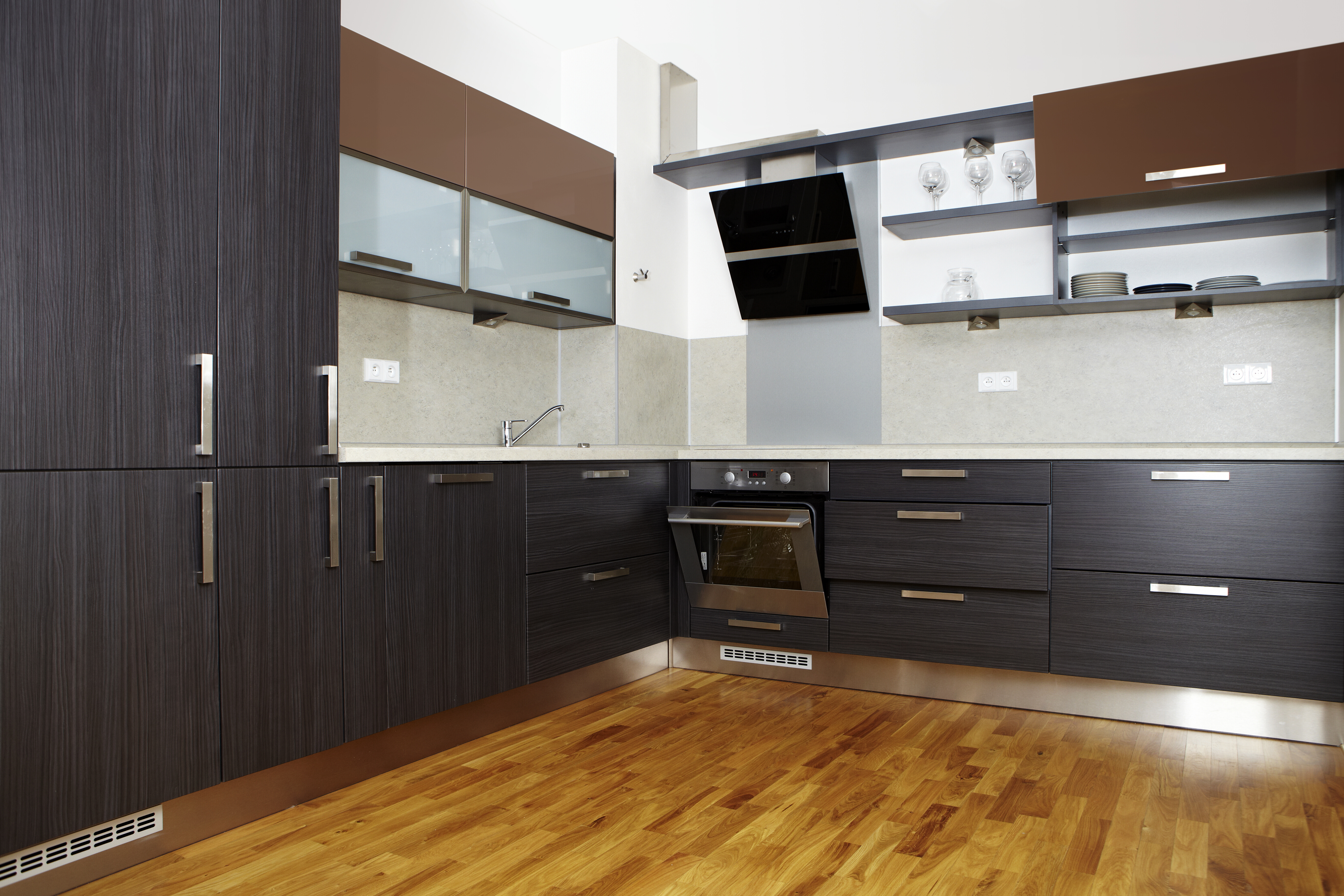 Modern and nice design kitchen interior in contemporary city building