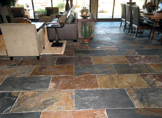 Natural Slate Flooring On Living And Dining Room Ideas Part 26