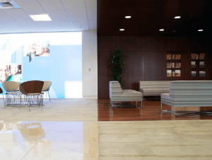 FSI commercial Stone & wood Floor reception & seating Charles Schwab project