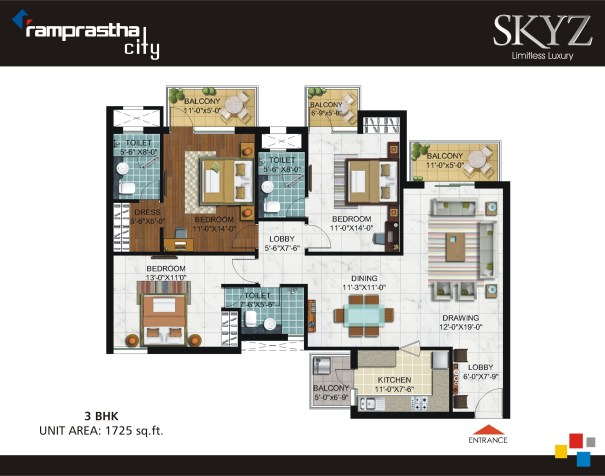 3 BHK 1725 Sq Ft Ramprastha Skyz Floor Plan