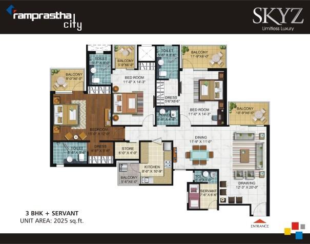 3 BHK + SR + Store 2025 Sq Ft Ramprastha Skyz
