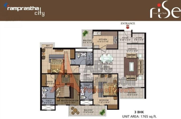Ramprastha Rise Floor Plan 3 BHK – 1765 Sq. Ft.