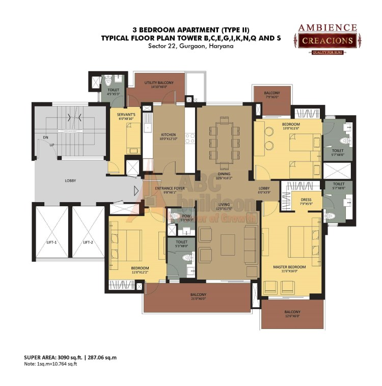 Ambience Creacions Floor Plan 3 BHK + S.R – 3090 Sq. Ft.