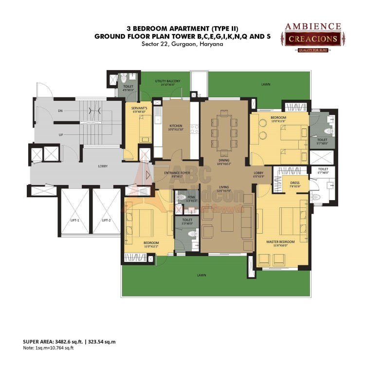 Ambience Creacions Floor Plan 3 BHK + S.R – 3482 Sq. Ft.