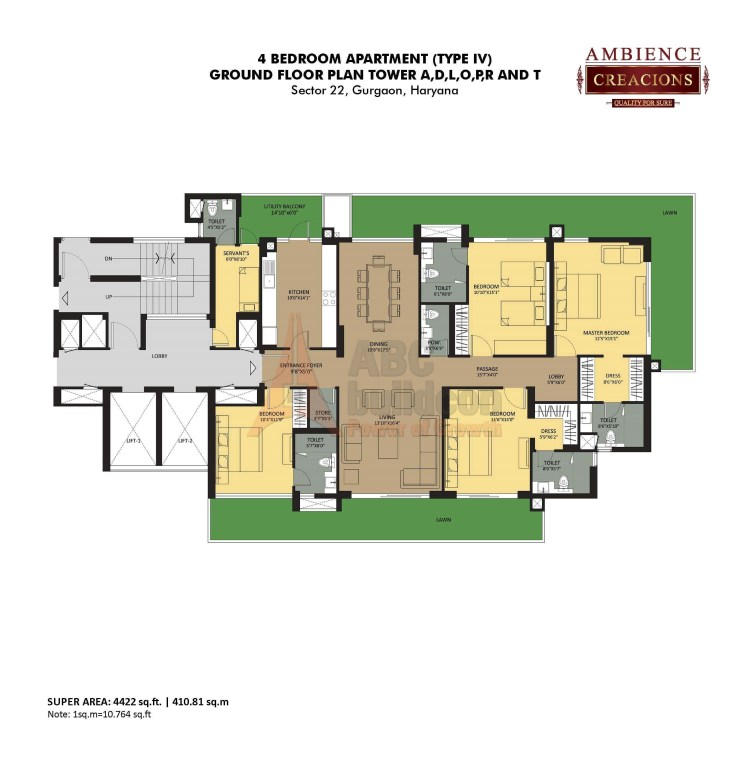 Ambience Creacions Floor Plan 4 BHK + S.R – 4422 Sq. Ft.