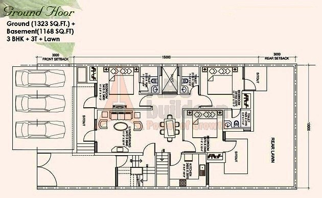 Ansal Mulberry Homes Floor Plan 3 BHK – 1323 Sq. Ft. - Ground Floor