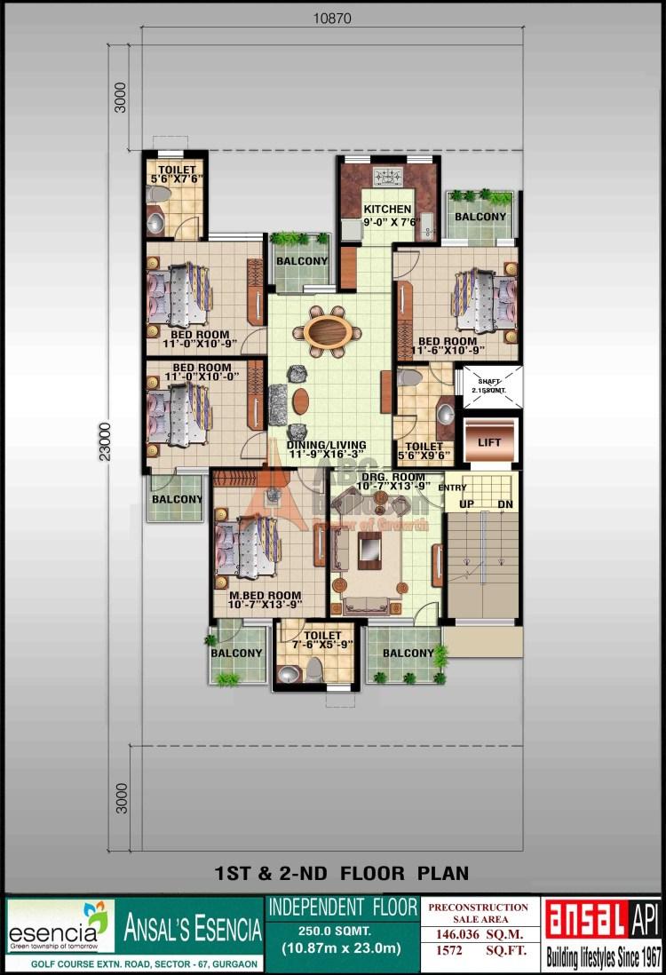 Ansal Sovereign Floor Plan 4 BHK – 1572 Sq. Ft. - 1st & 2nd Floor