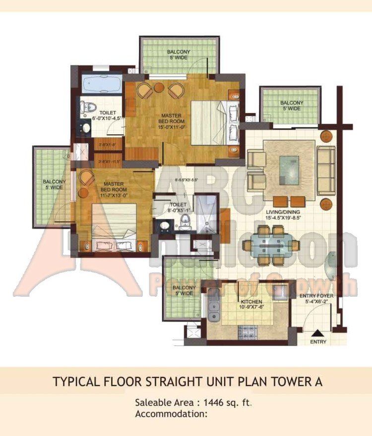 BPTP Freedom Park Life Floor Plan 2 BHK – 1446 Sq. Ft.