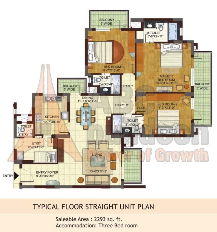 BPTP Freedom Park Life Floor Plan 3 BHK + S.R – 2293 Sq. Ft.