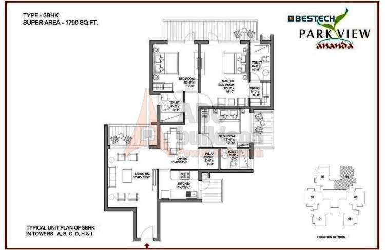 Bestech Park View Ananda Floor Plan 3 BHK – 1790 Sq. Ft.