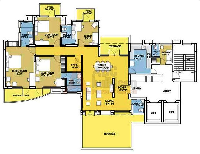 Bestech Park View City 2 Floor Plan 3 BHK + S.R + Study + Terrace– 2260 Sq. Ft.