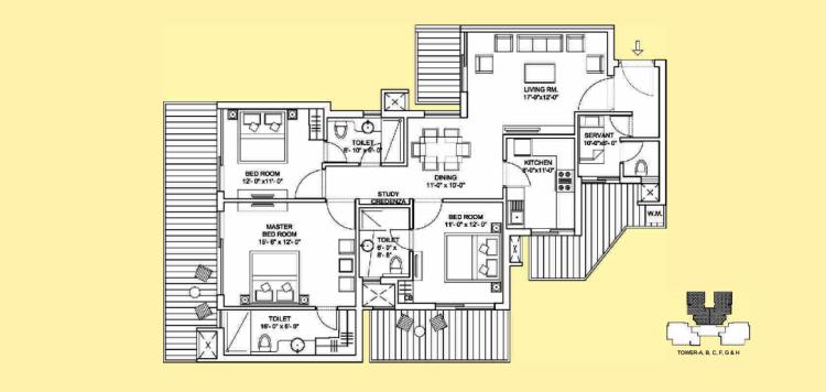 Bestech Park View Sanskruti Floor Plan 3 BHK + S.R – 1995 Sq. Ft.