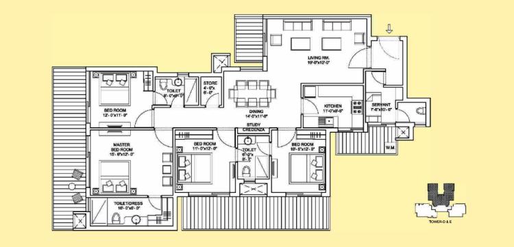 Bestech Park View Sanskruti Floor Plan 4 BHK + S.R+ Study – 2325 Sq. Ft.