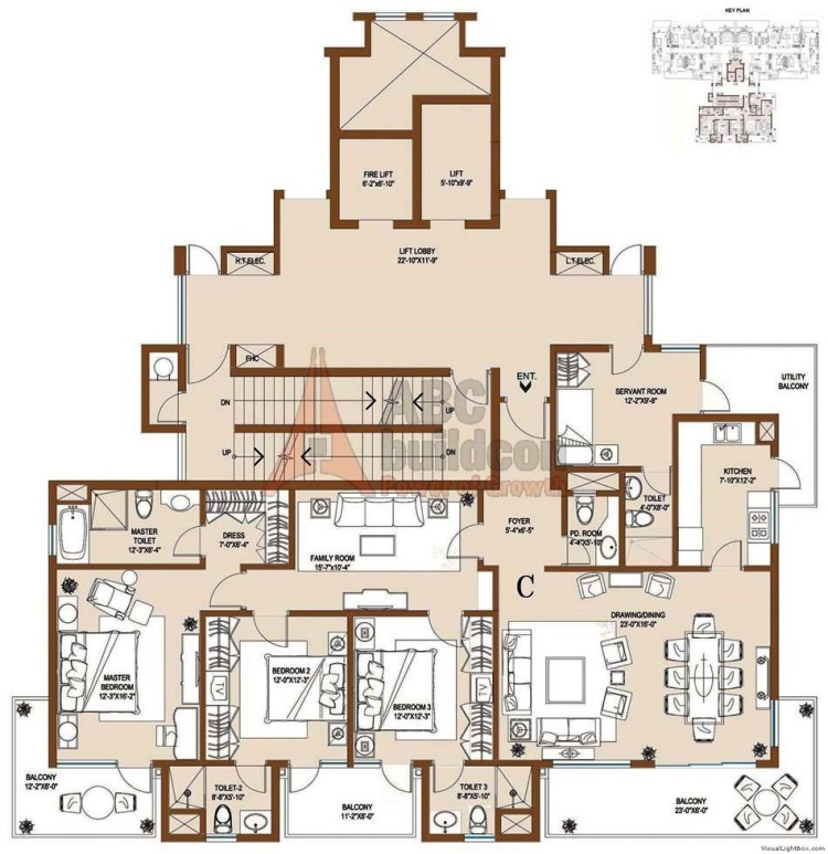 Central Park 2 Floor Plan 3 BHK + S.R – 2550 Sq. Ft. (Balgravia)