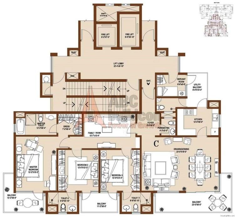 Central Park 2 Floor Plan 3 BHK + S.R – 2590 Sq. Ft. (Balgravia)