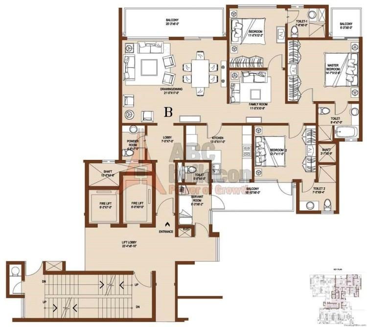 Central Park 2 Floor Plan 4 BHK + S.R – 3820 Sq. Ft. (Balgravia)
