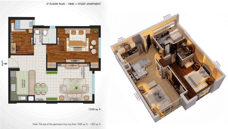Central Park II The Room Floor Plan 1 BHK + Study  – 1250 Sq. Ft.