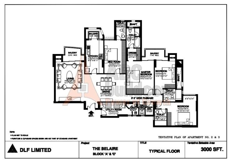 DLF Belaire Floor Plan 4 BHK + S.R + Store – 3000 Sq. Ft.