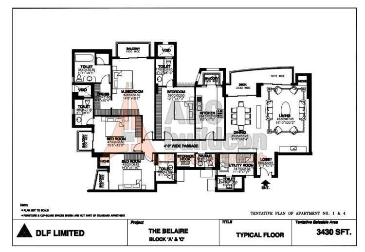 DLF Belaire Floor Plan 4 BHK + S.R + Store – 3430 Sq. Ft.
