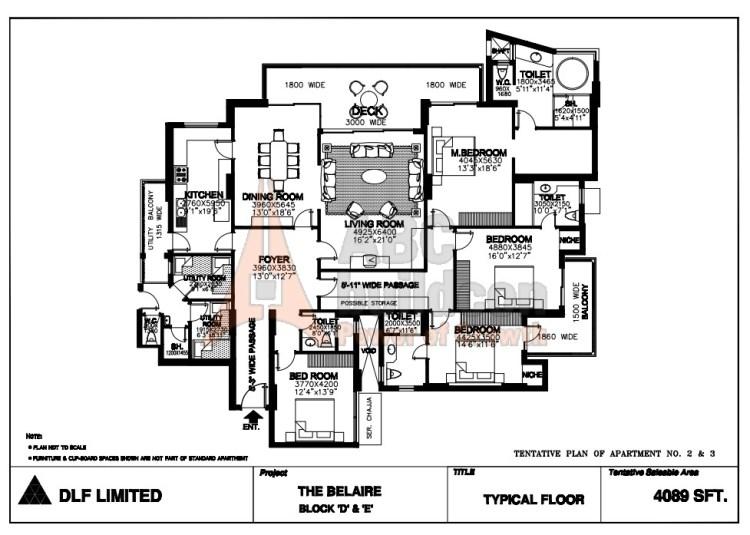 DLF Belaire Floor Plan 4 BHK + S.R + Store – 4089 Sq. Ft.