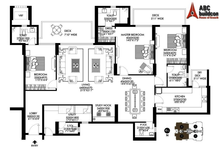 DLF Crest Floor Plan 3 BHK + S.R + Study – 3087 Sq. Ft.