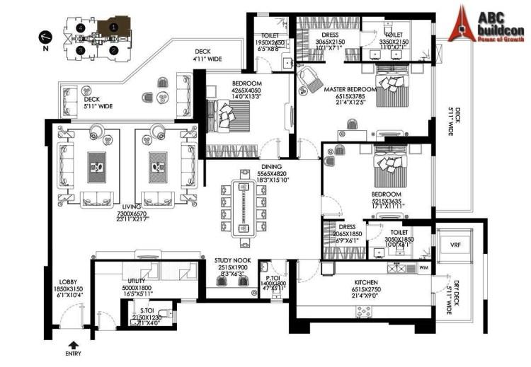 DLF Crest Floor Plan 3 BHK + S.R + Study – 3511 Sq. Ft.