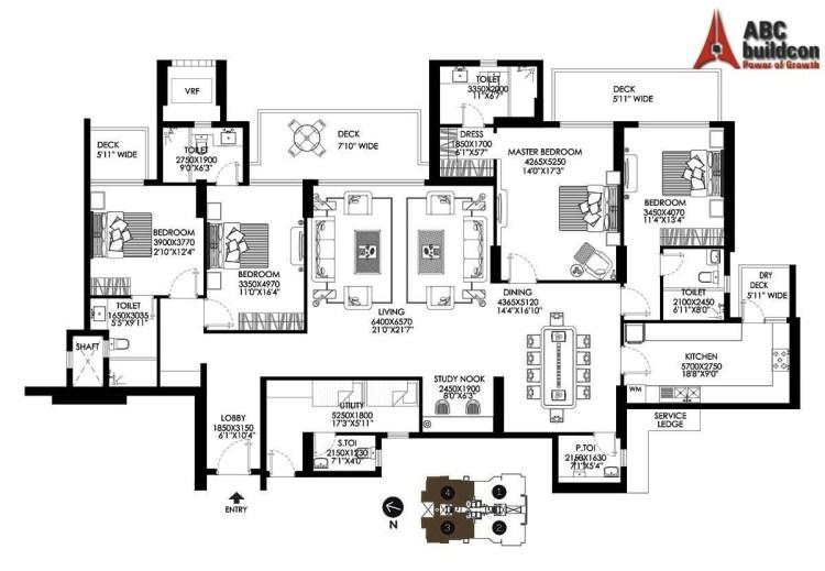 DLF Crest Floor Plan 4 BHK + S.R + Utility– 3497 Sq. Ft.