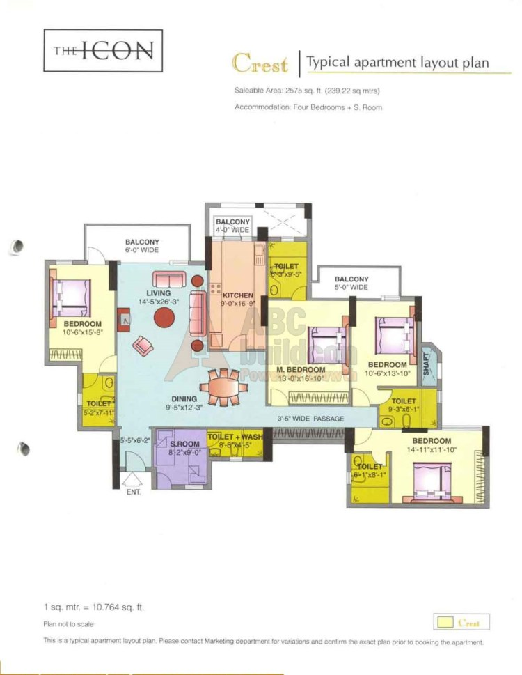 DLF Icon Floor Plan 4 BHK + S.R – 2575 Sq. Ft.