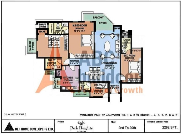 DLF Park Place Floor Plan 3 BHK + Utility – 2282 Sq. Ft.