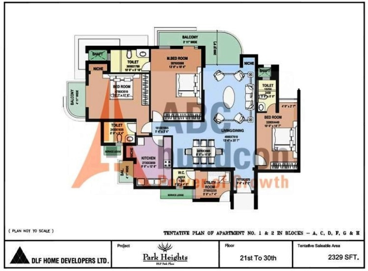 DLF Park Place Floor Plan 3 BHK + Utility – 2329 Sq. Ft.