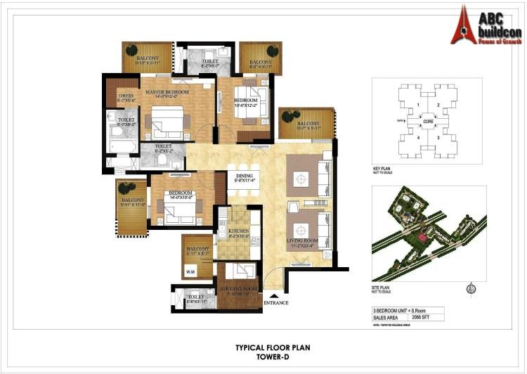 DLF Primus Floor Plan 3 BHK +S.R – 2086 Sq. Ft.