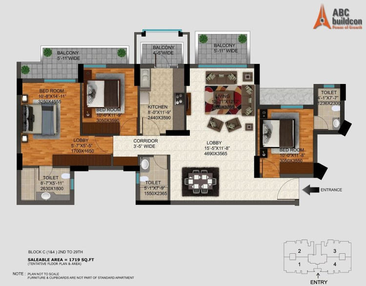DLF Regal Gardens Floor Plan 3 BHK – 1719 Sq. Ft.