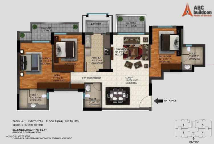 DLF Regal Gardens Floor Plan 3 BHK – 1734 Sq. Ft.
