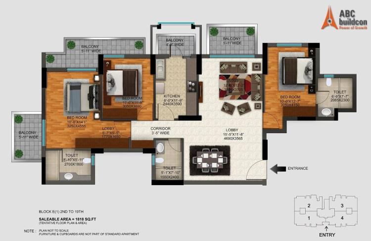 DLF Regal Gardens Floor Plan 3 BHK – 1818 Sq. Ft.