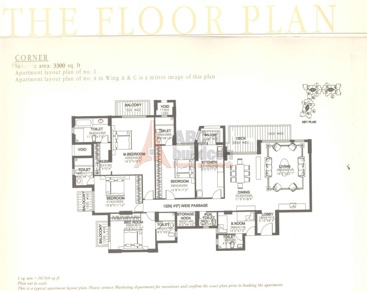 DLF Summit Floor Plan 4 BHK + S.R + Store – 3300 Sq. Ft.