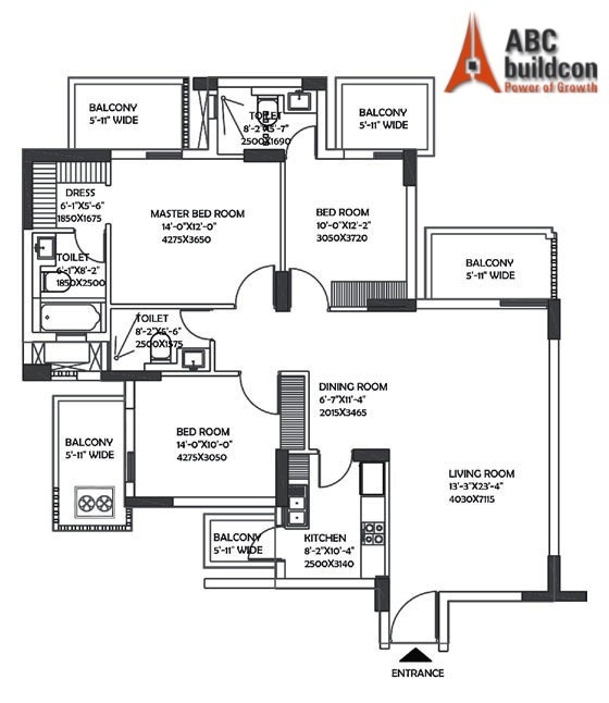 DLF Ultima Floor Plan 3 BHK – 1911 Sq. Ft.