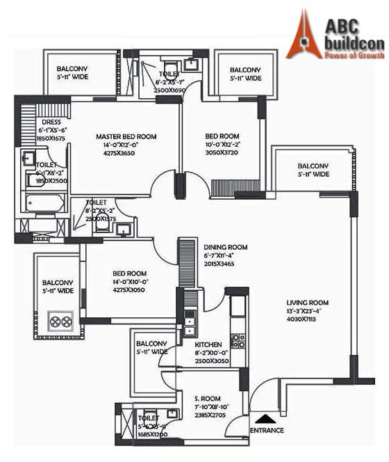 DLF Ultima Floor Plan 3 BHK + S.R – 2078 Sq. Ft.