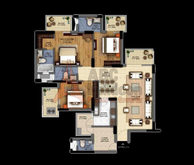 DLF Ultima Floor Plan 3 BHK + S.R – 2092 Sq. Ft.