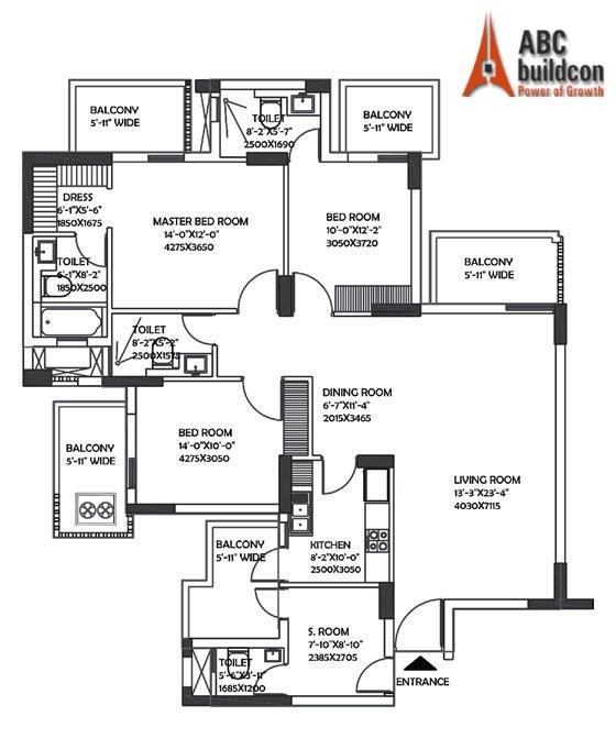 DLF Ultima Floor Plan 3 BHK + S.R – 2098 Sq. Ft.