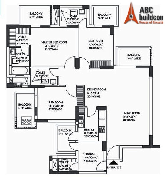 DLF Ultima Floor Plan 3 BHK + S.R – 2112 Sq. Ft.