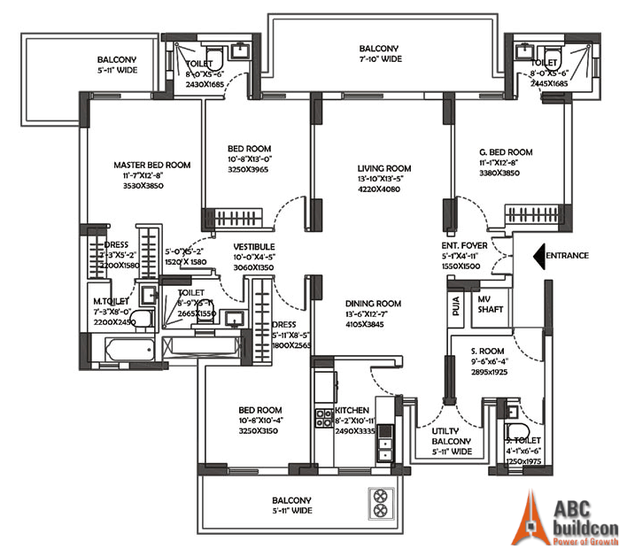 DLF Ultima Floor Plan 4 BHK + S.R – 2824 Sq. Ft.