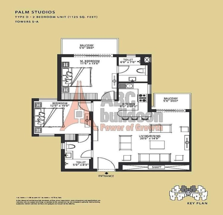 Emaar MGF Palm Drive Floor Plan 2 BHK – 1125 Sq. Ft.