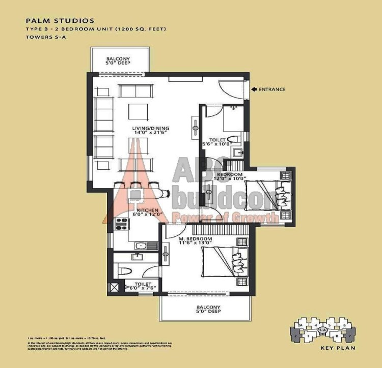 Emaar MGF Palm Drive Floor Plan 2 BHK – 1200 Sq. Ft.