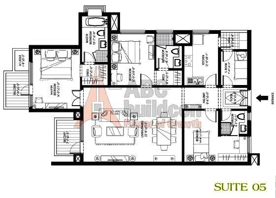 Emaar MGF Palm Drive Floor Plan 3 BHK + S.R – 1900 Sq. Ft.